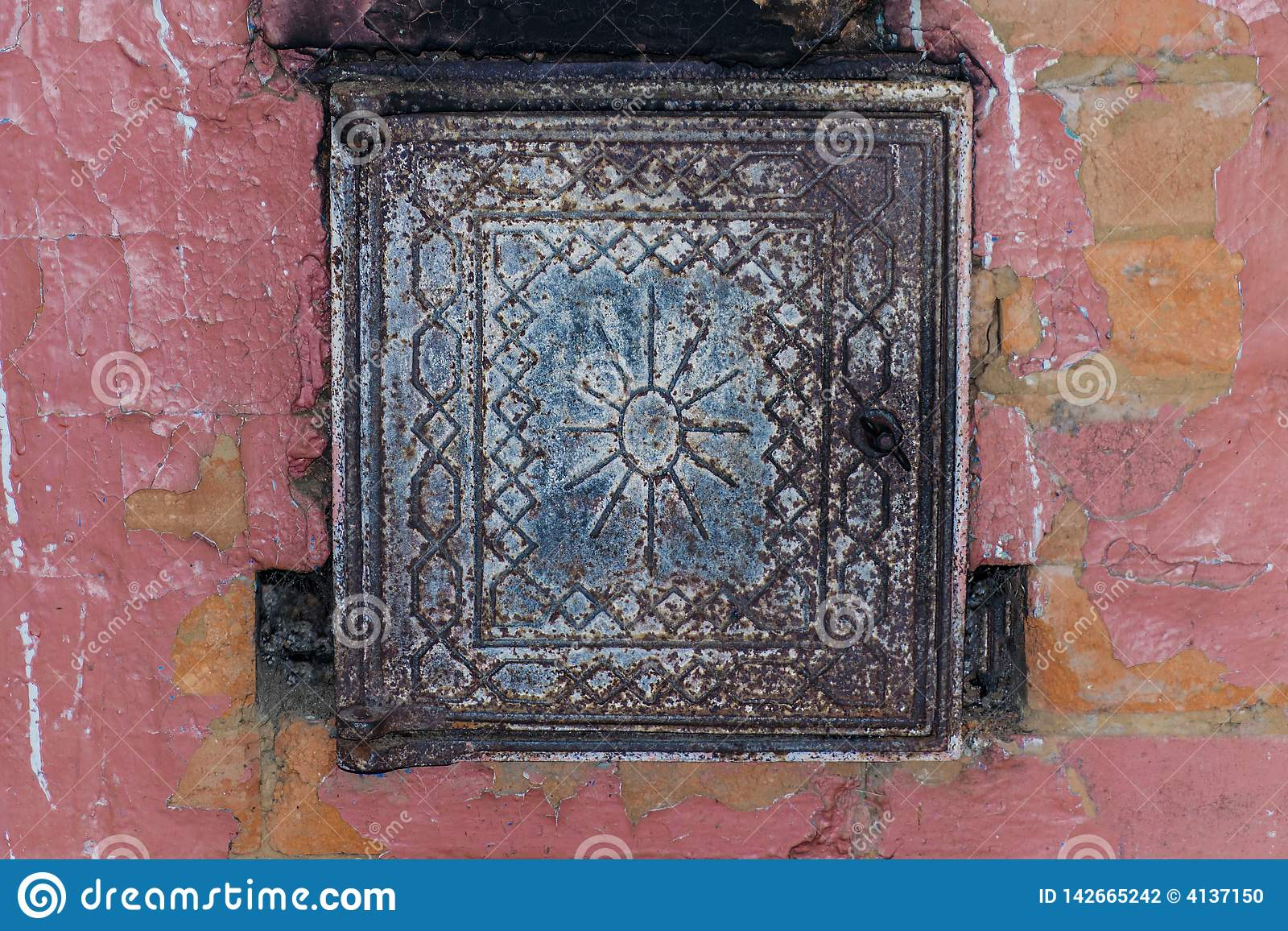 Russian red brick stove