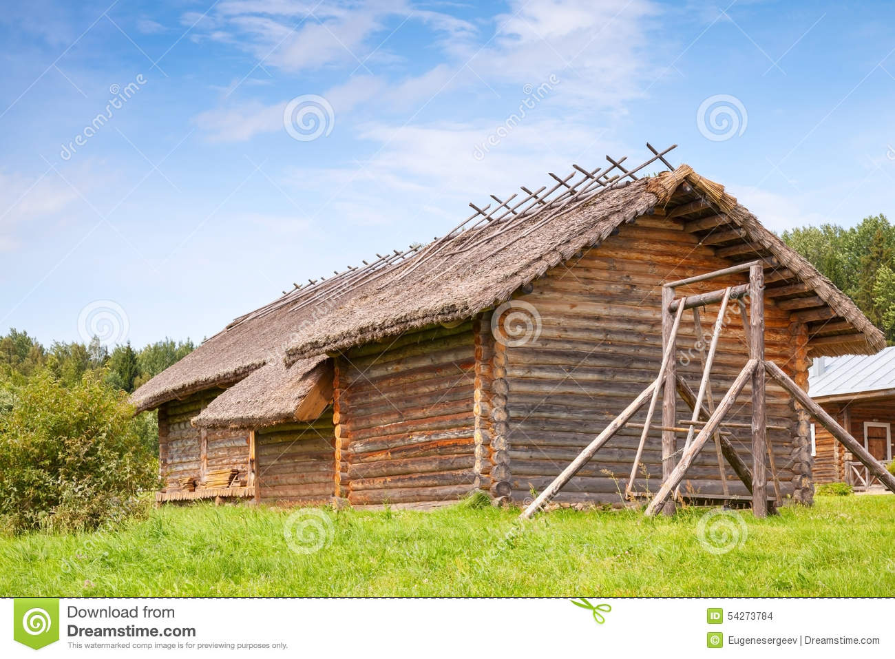 Russian Rural Wooden Architecture Example, Old Barns Stock ...