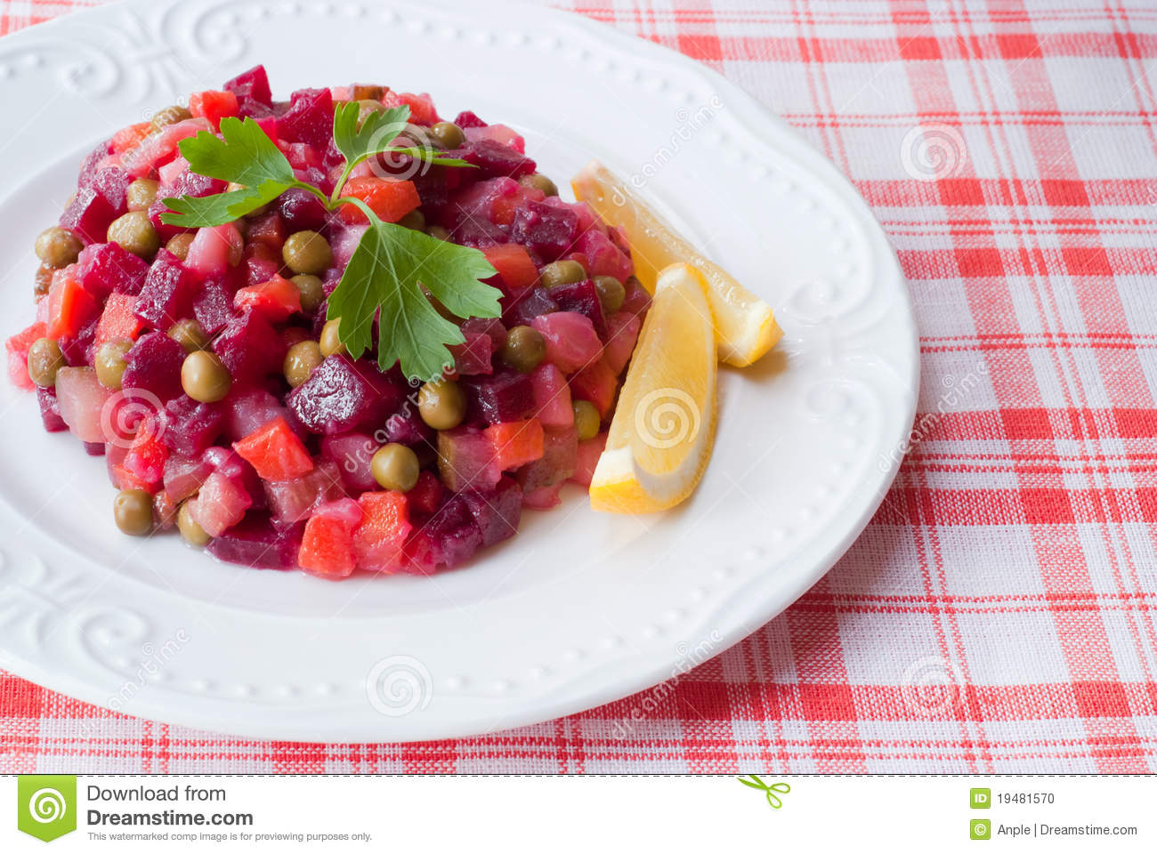 Russian salad of beetroot.
