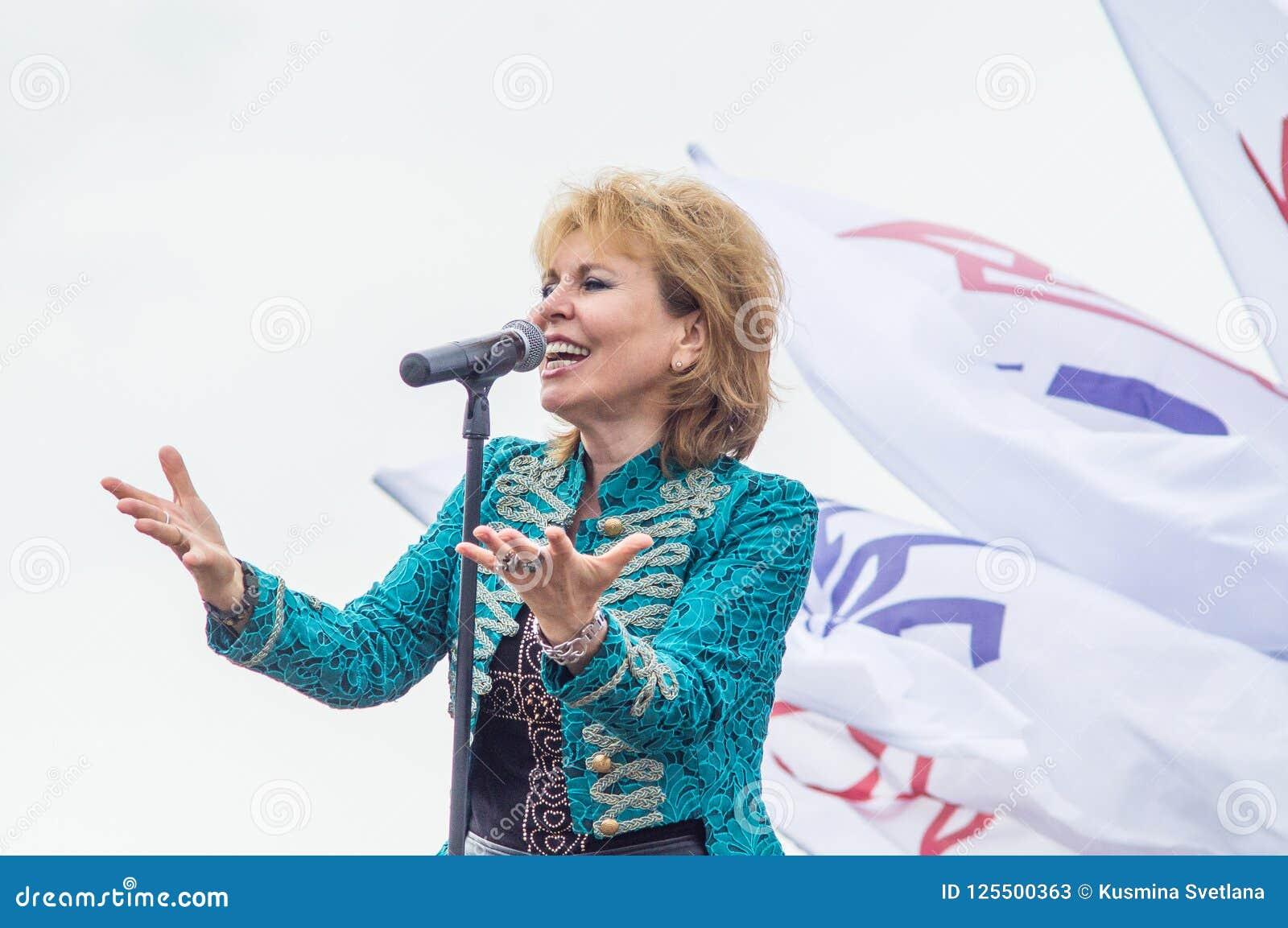 Russian Singer Olga Kormukhina During A Concert In The Kaluga Region