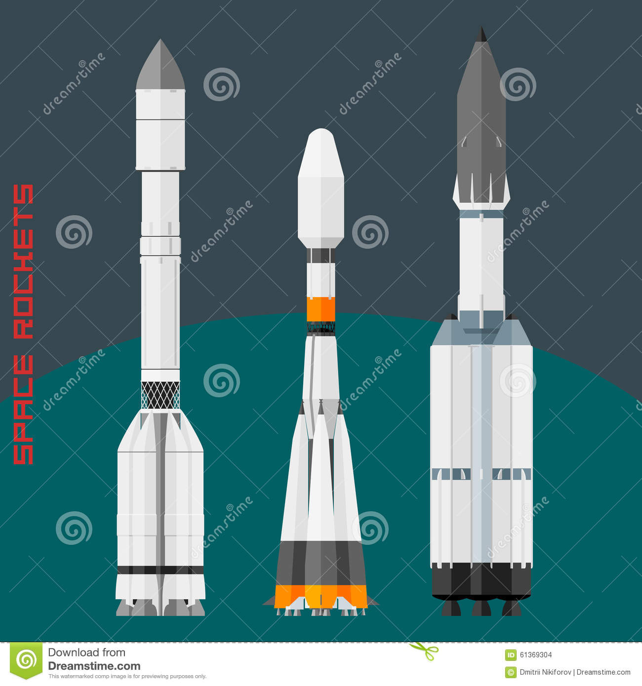 Russian Space Rockets Set Stock Vector - Image: 61369304