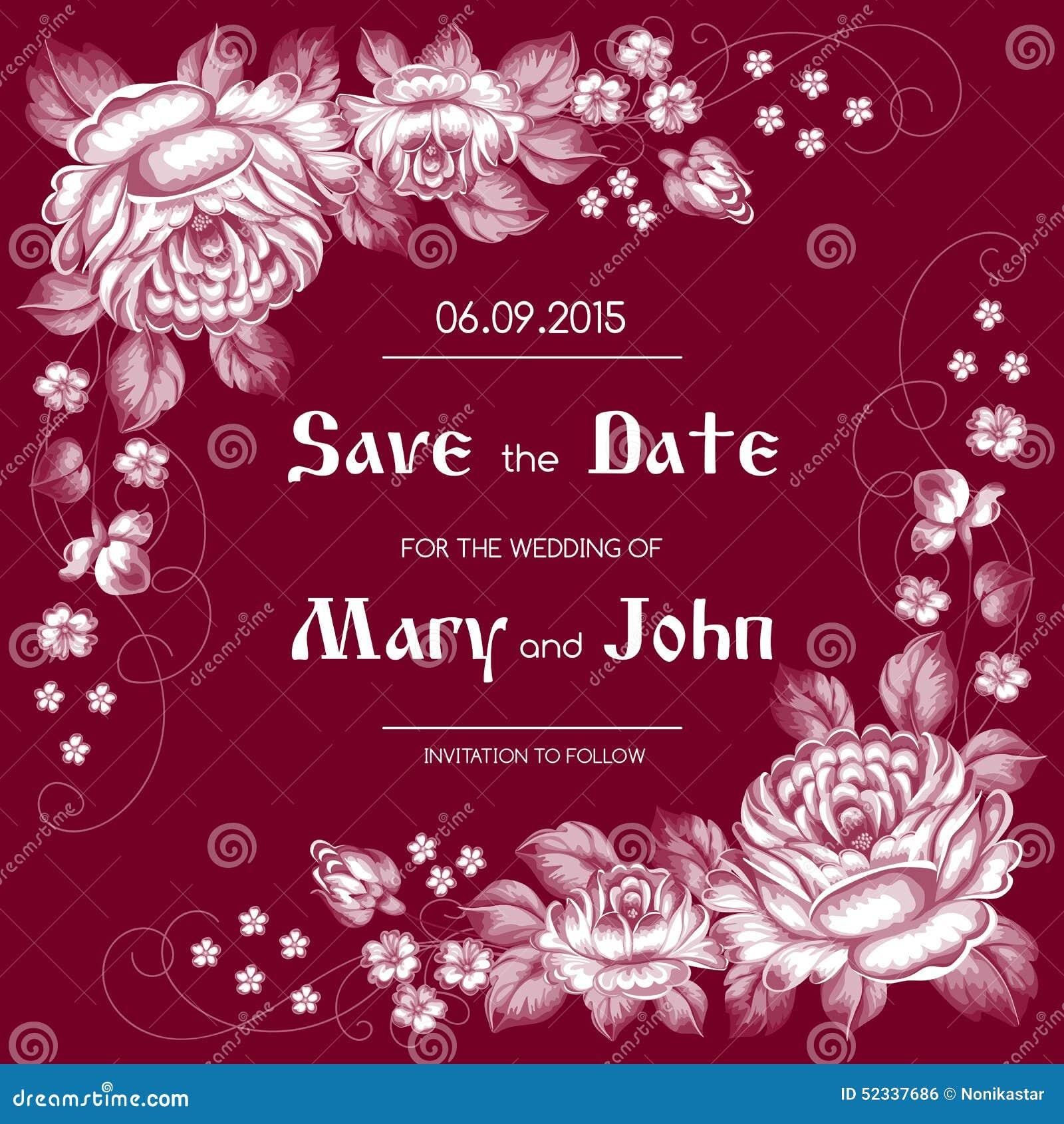 Russian Style Wedding Invitation Stock Vector - Illustration of ...