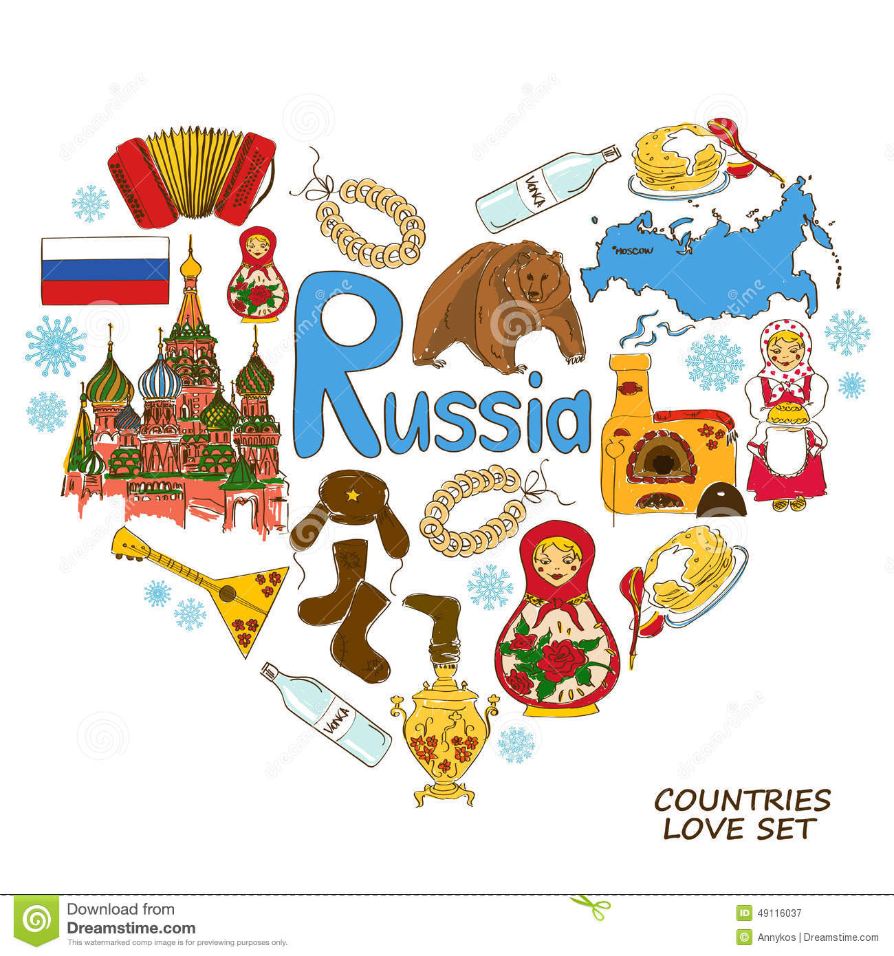 Russian Symbols In Heart Shape Concept Stock Vector
