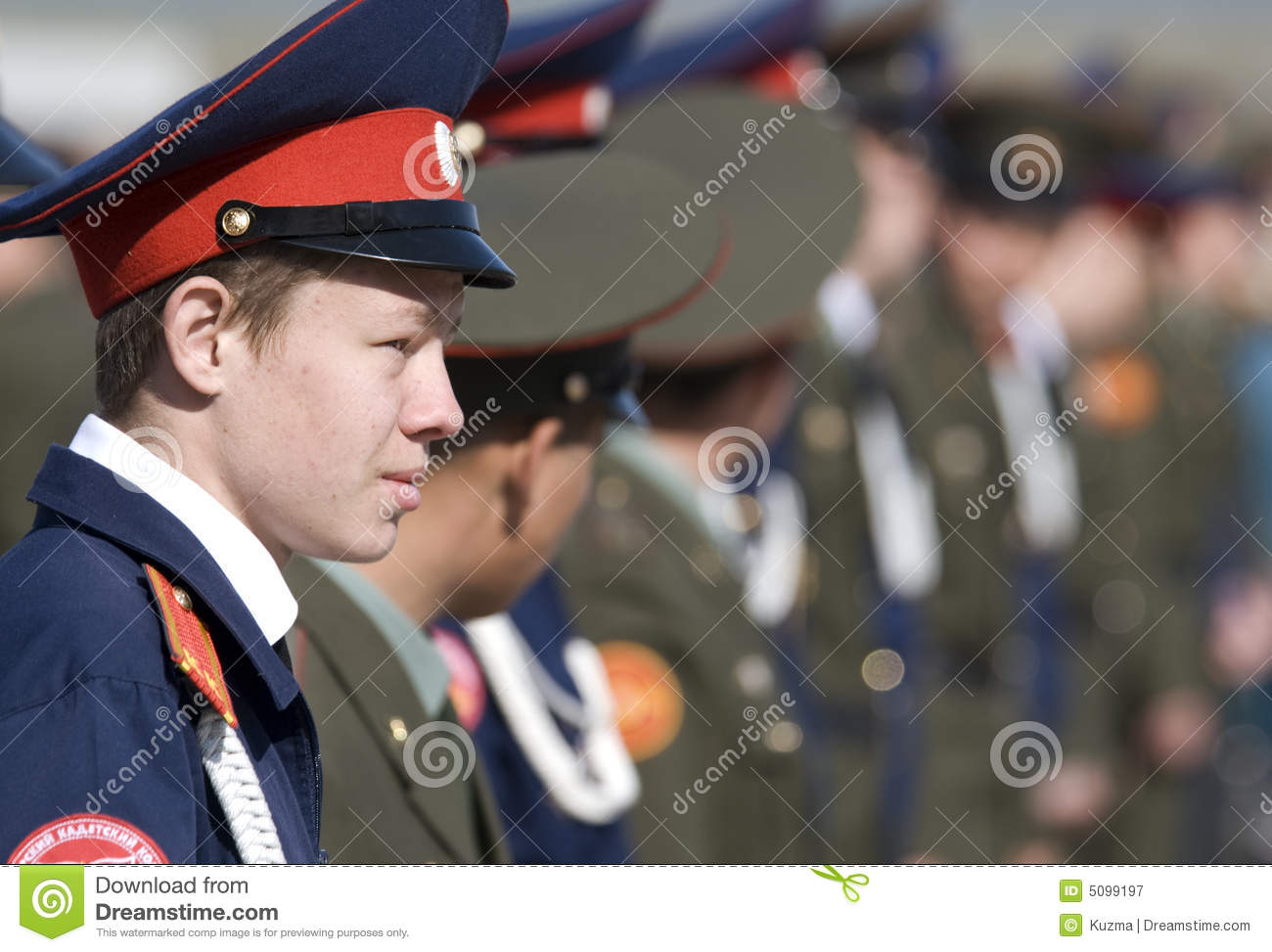 Russian teen in military uniform