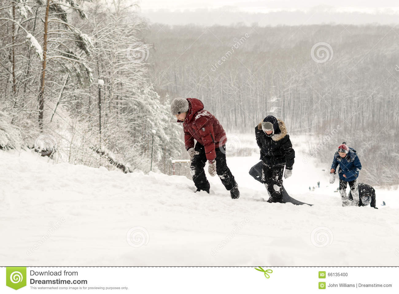 cf73a3f2540bb5 Russian Teenagers Wild Snow Slide Winter Ride Downhill Editorial ...