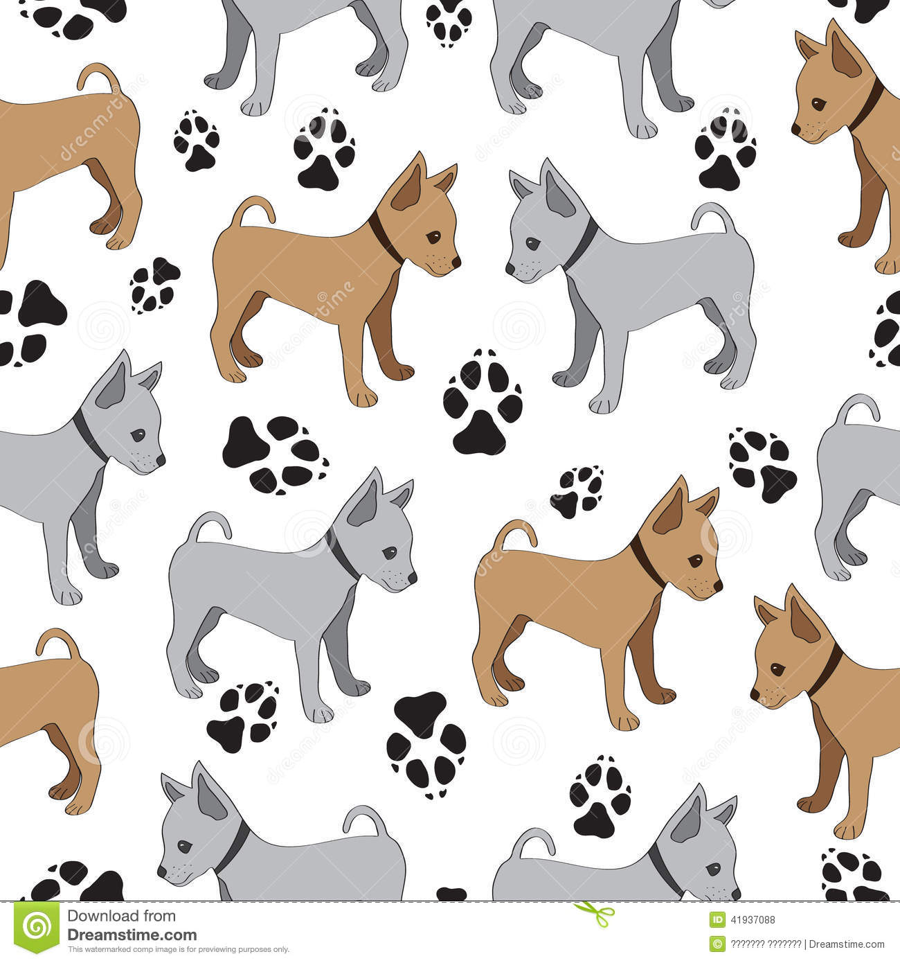 Russian Toy Terrier Seamless Pattern With Dogs Stock