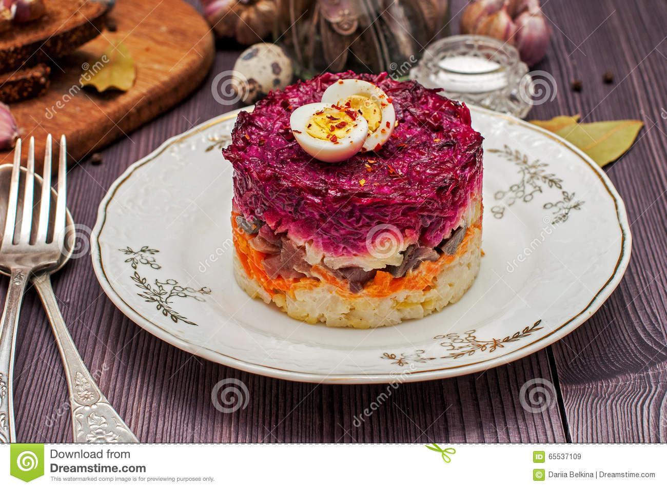Russian traditional food herring under a fur coat stock for Authentic russian cuisine