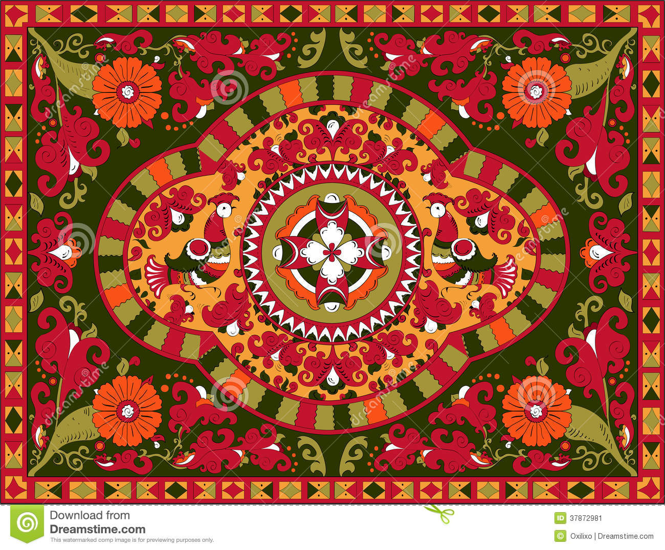 russian traditional or nt birds and flower stock image russian traditional or nt birds and flower