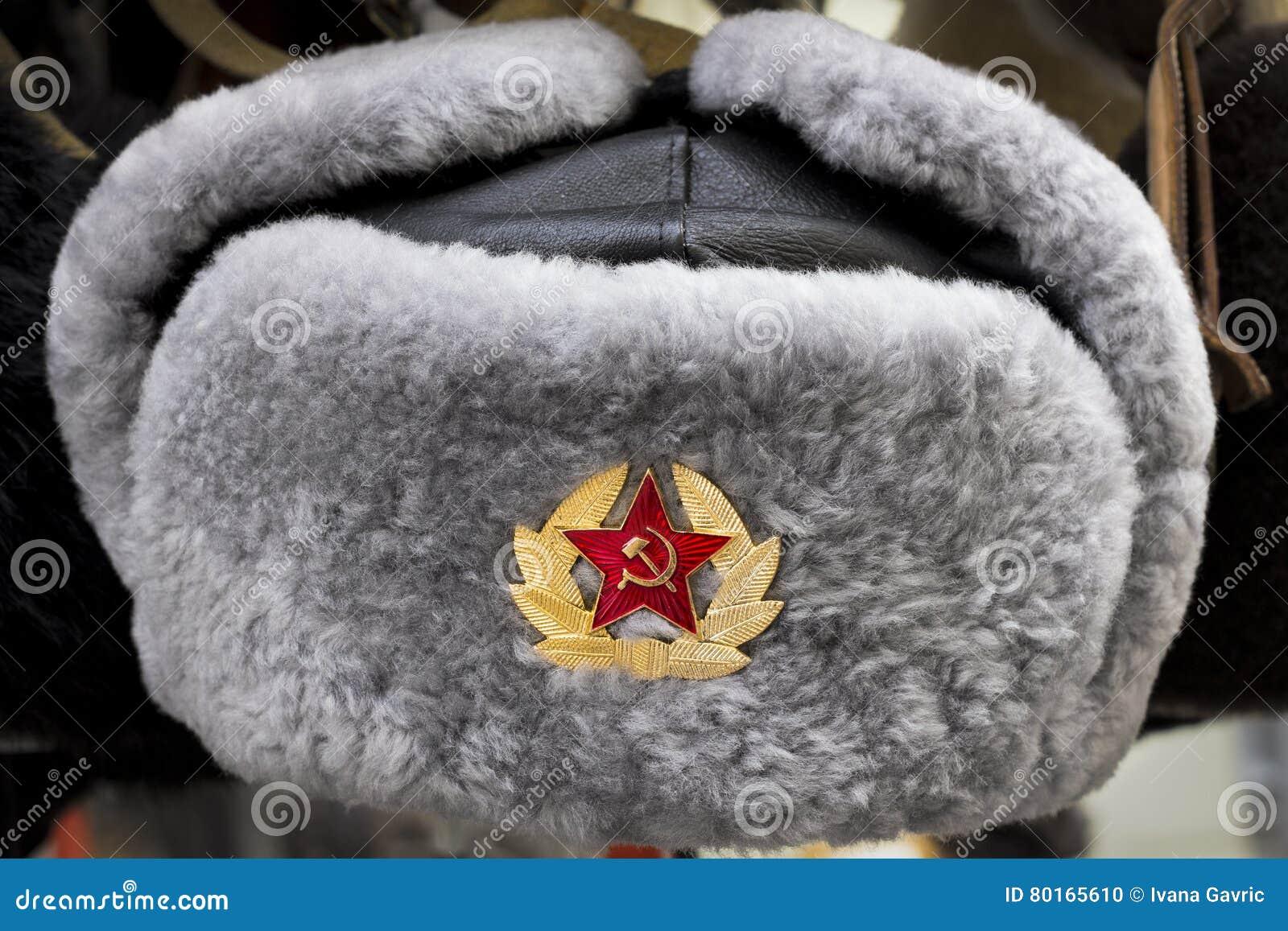 6767a10f3ea Grey Russian Soviet Red Army USSR winter fur hat called Ushanka