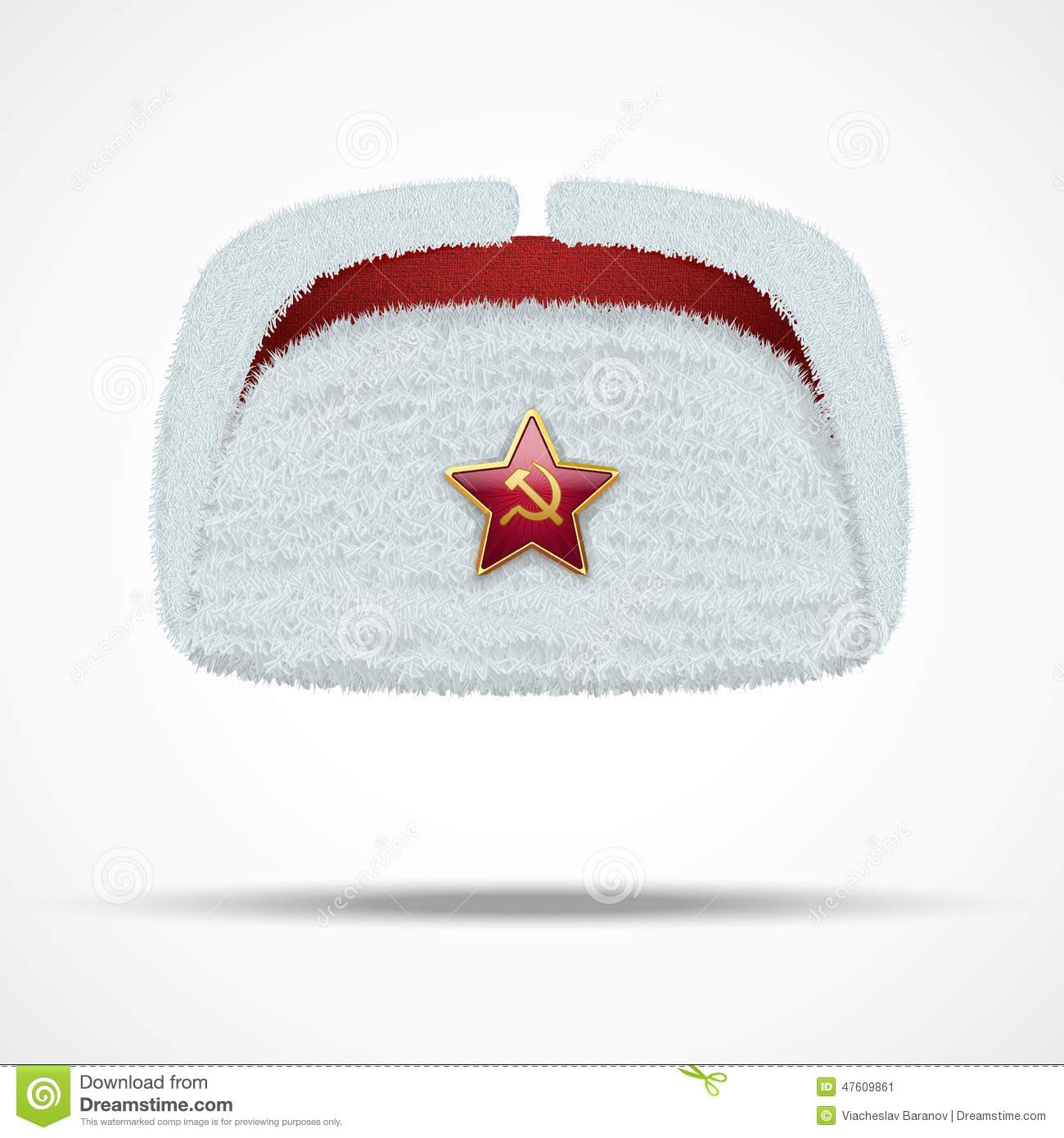 8a02b21308ba7 Russian white fur winter hat ushanka with red star. Vector illustration  isolated on white background.