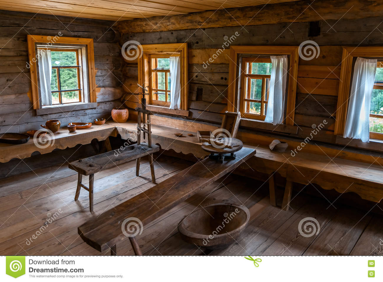 Russian Wooden House Interior Stock Photo Image Of