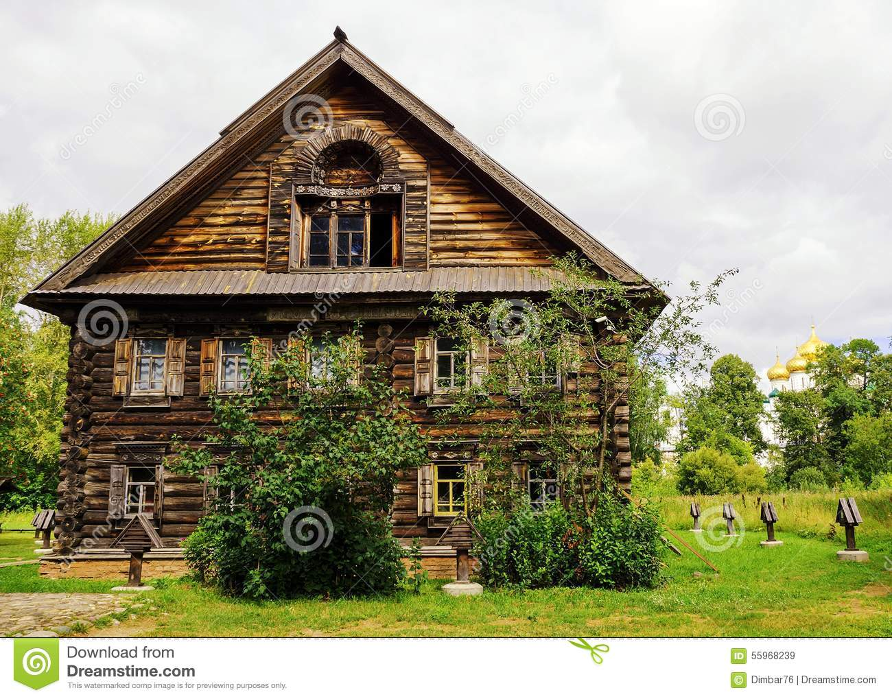 Russian Wooden House In The Museum Of Wooden Architecture In