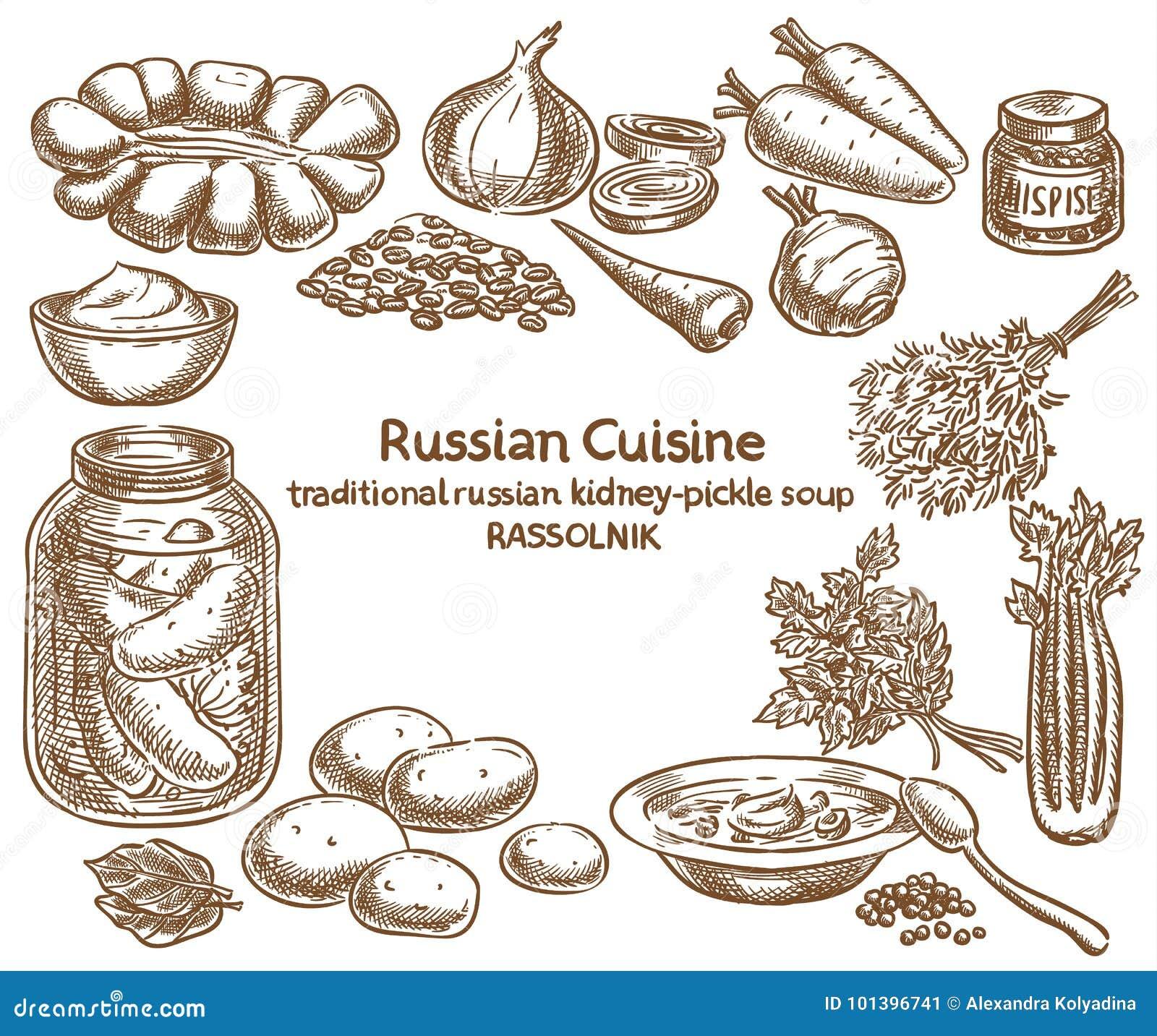 Russische keuken, rassolnik ingrediënten, vectorschets