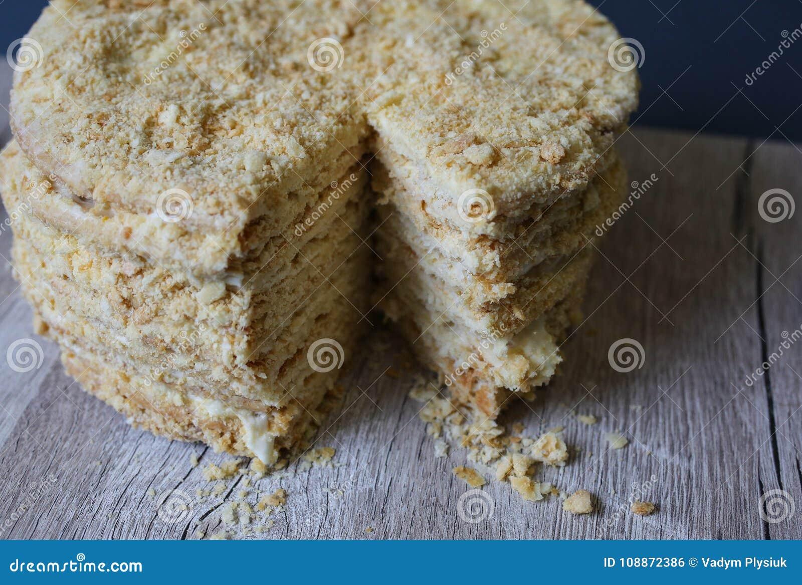 Russischer Art Mille Feuille Napoleon Kuchen Blatterteig Auf