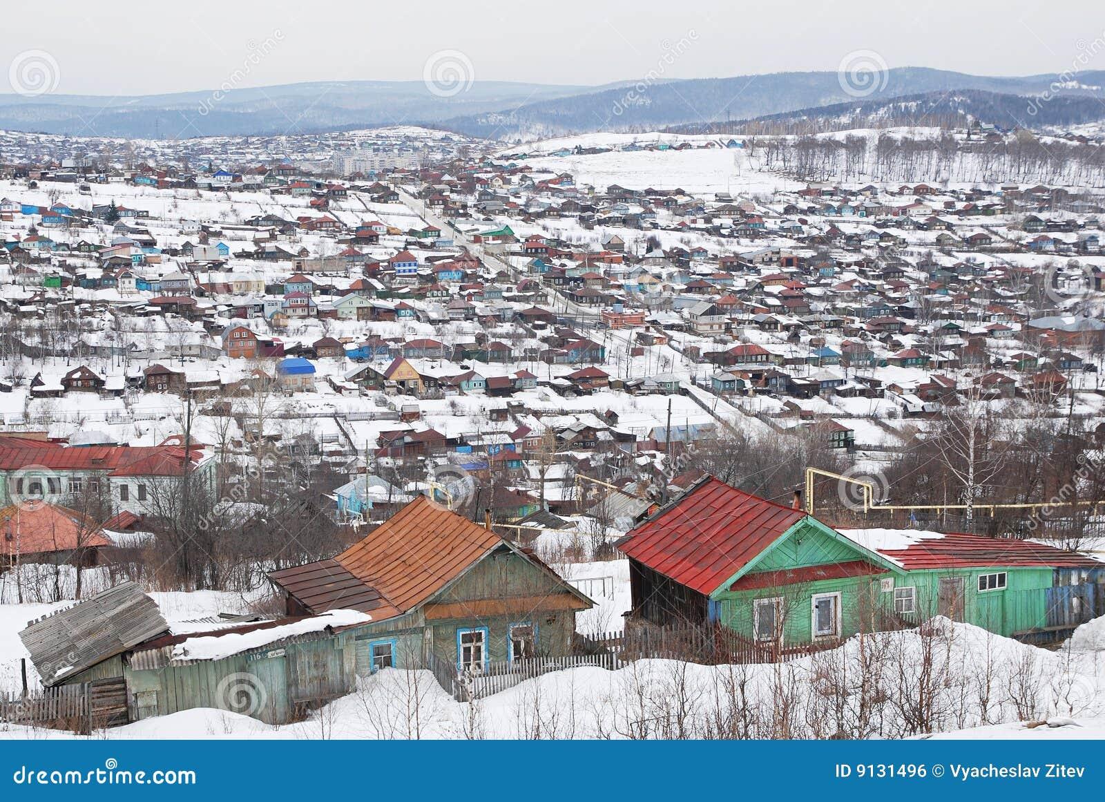 russisches dorf im winter stockfoto bild von russisch 9131496. Black Bedroom Furniture Sets. Home Design Ideas