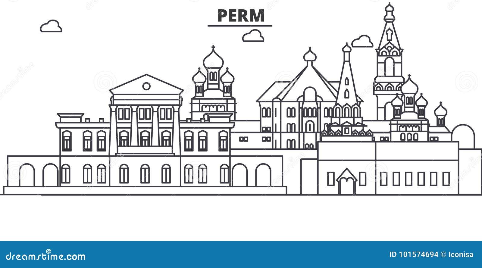 Russland, Dauerwellearchitekturlinie Skylineillustration r