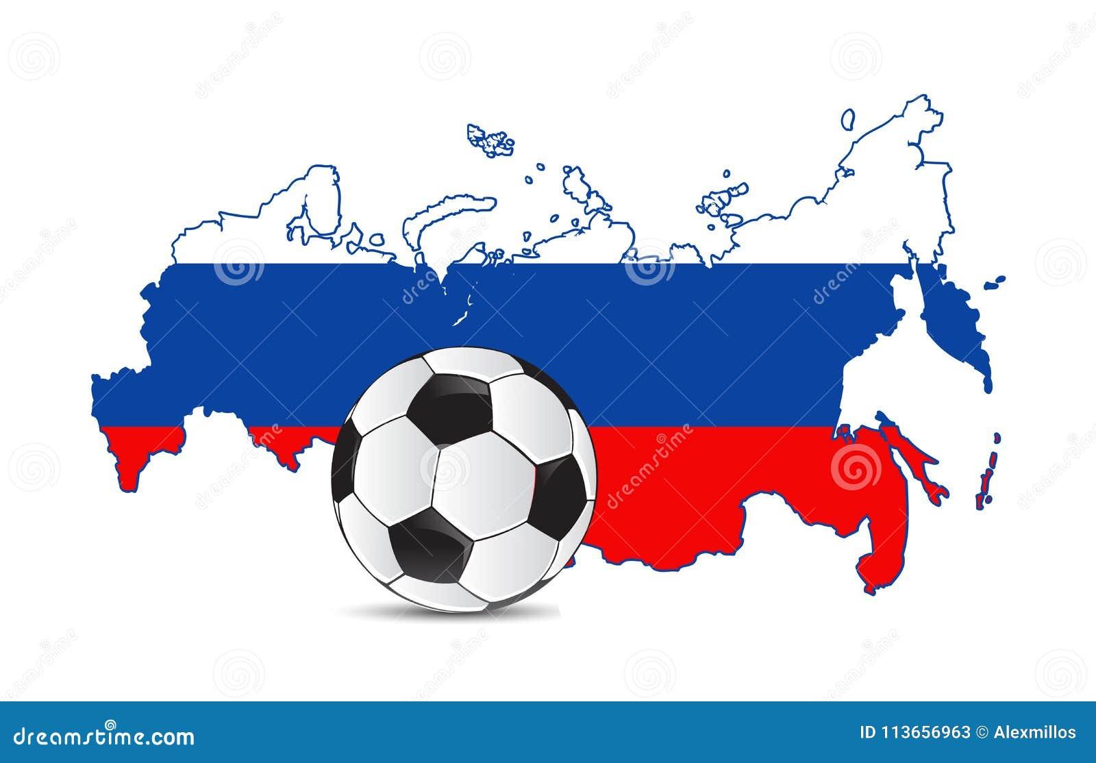 Russland Kartenflagge Und Fussball Illustrator Design Grafik