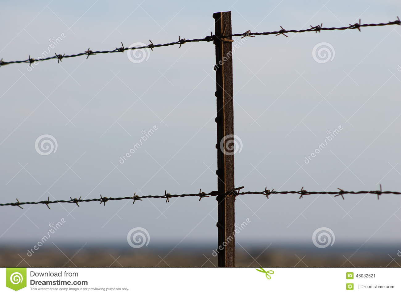 Rusted Barbed Wire Fence Post Stock Image - Image of secure, rusted ...
