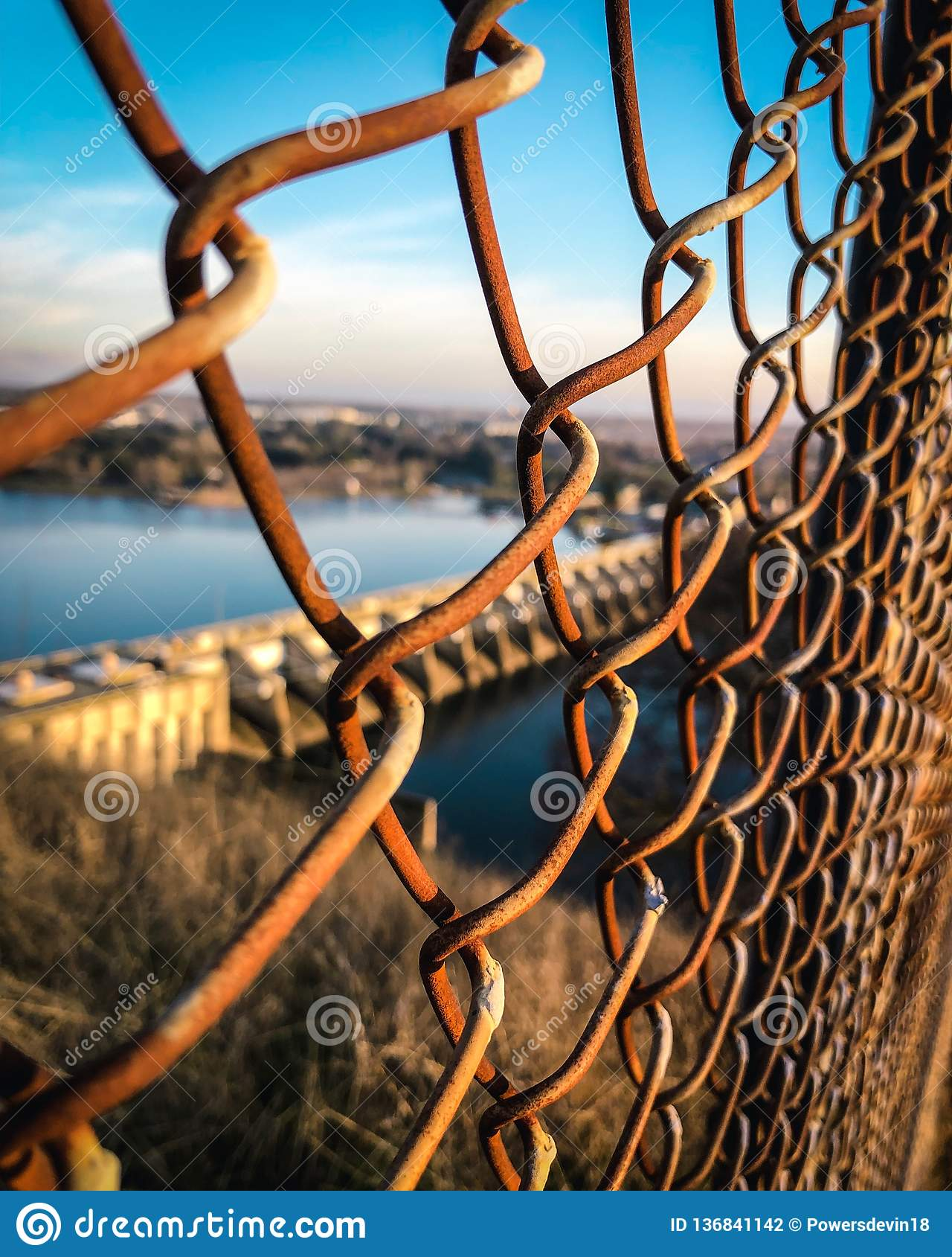Rusted fence in focus