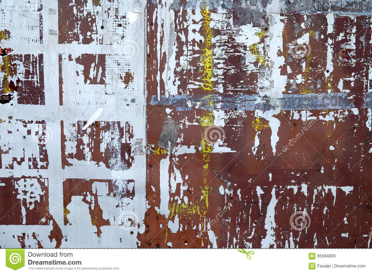 Rusted painted metal plates