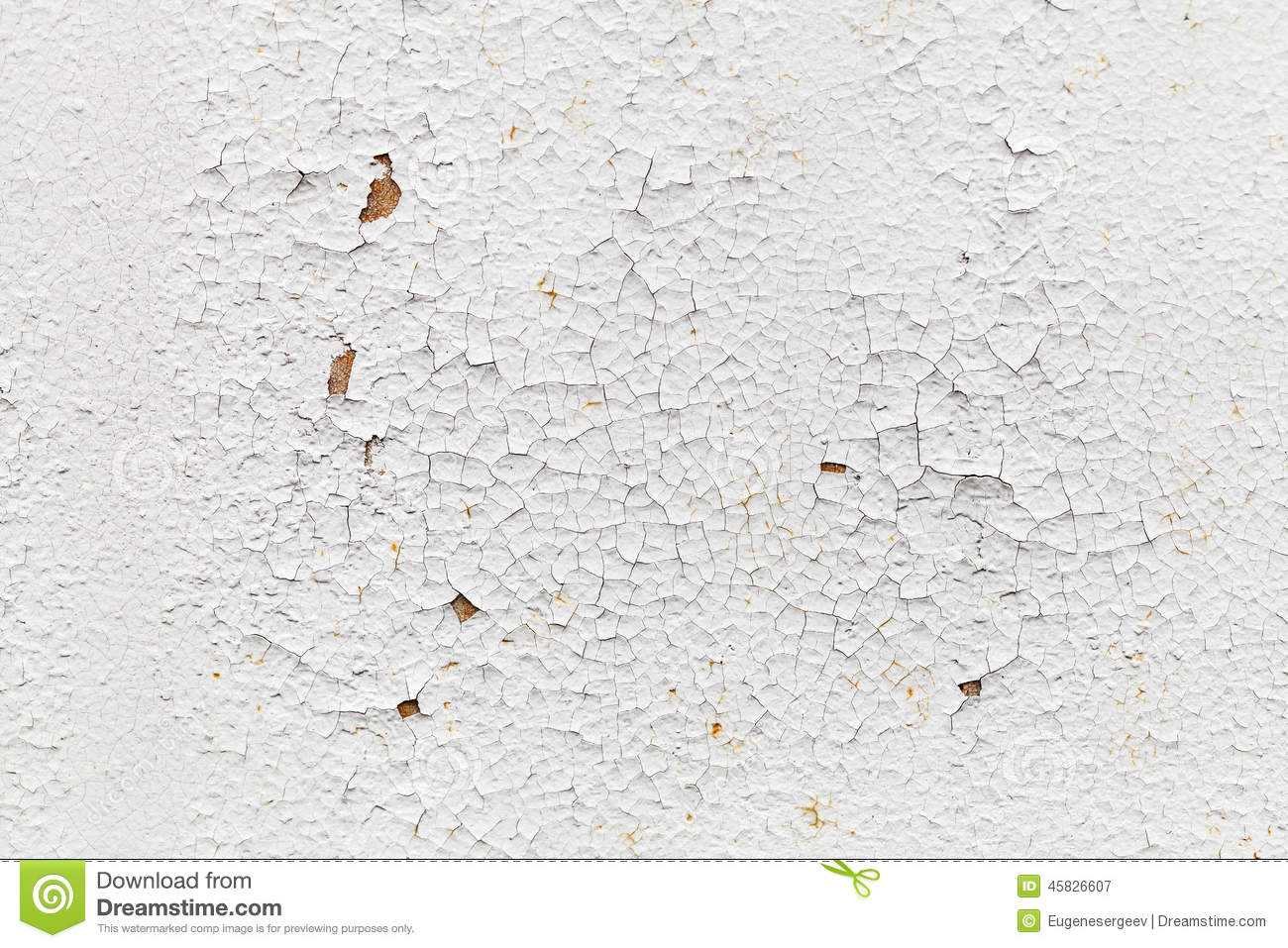 Rusted White Metal Wall With Cracks Background Texture