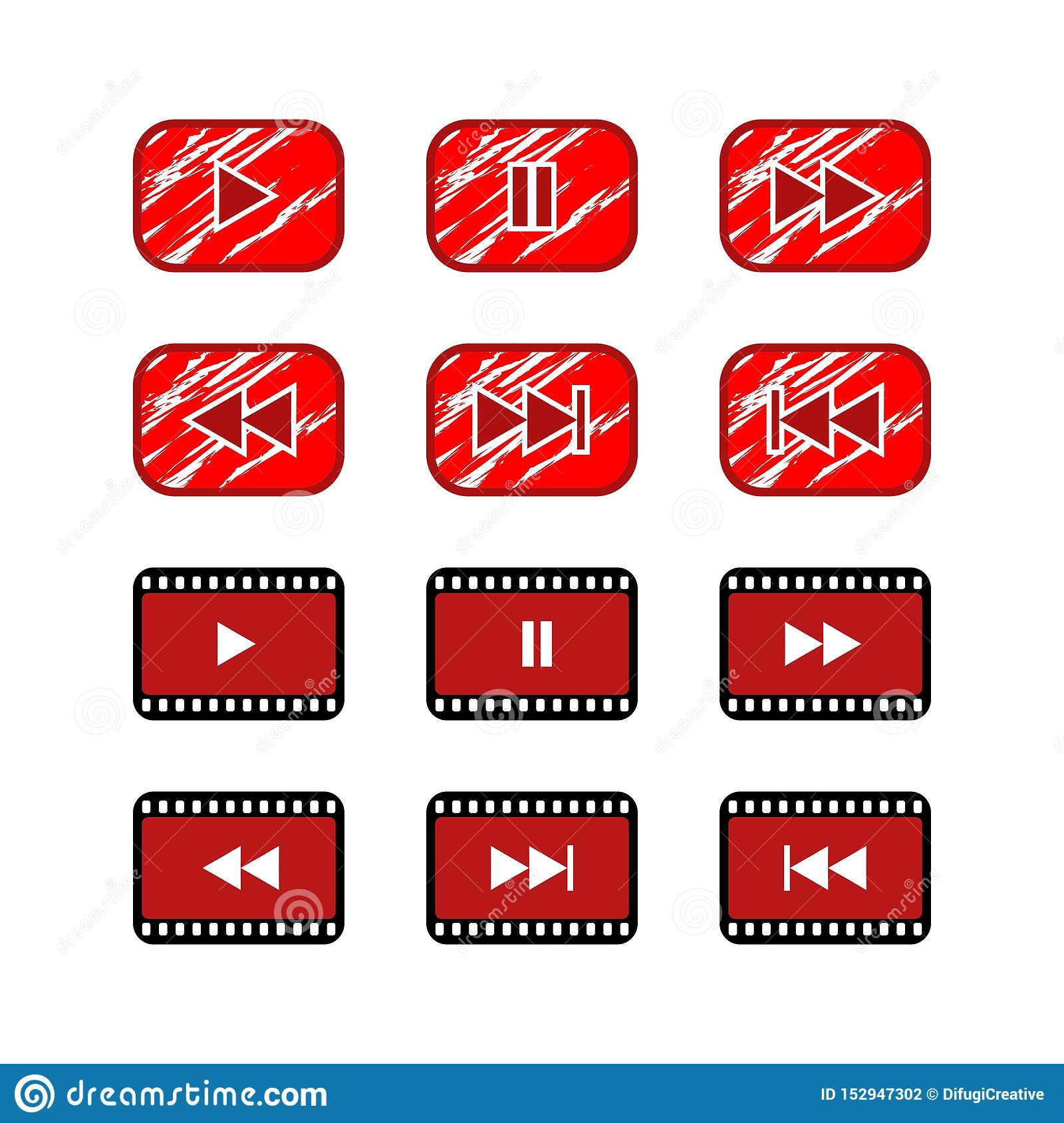 Ruster play button video website icon button.