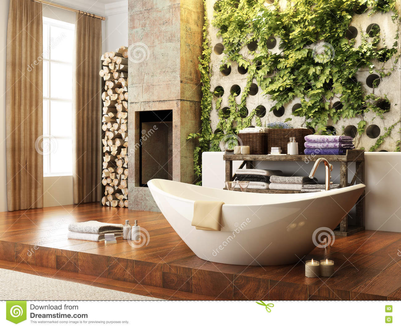 Rustic accents open concept bathroom with wall atrium and for Rustic concept