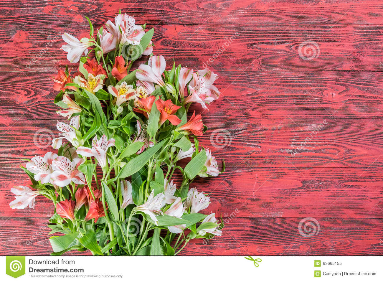 Rustic Background With Flowers Stock Photo Image 63665155