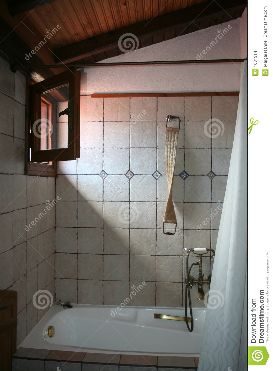 Rustic Bathroom Lit By Sunlight From Open Window Stock