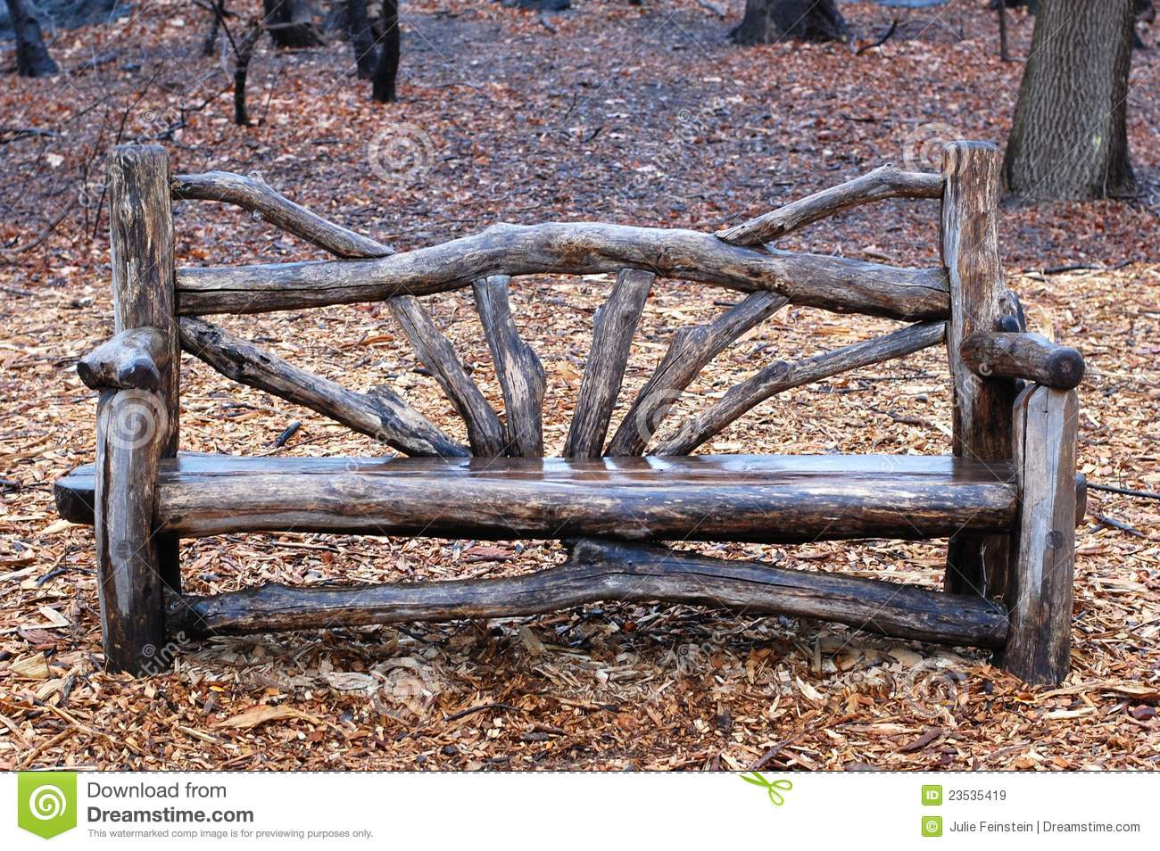 Rustic Bench In Central Park New York City Stock Image Image Of