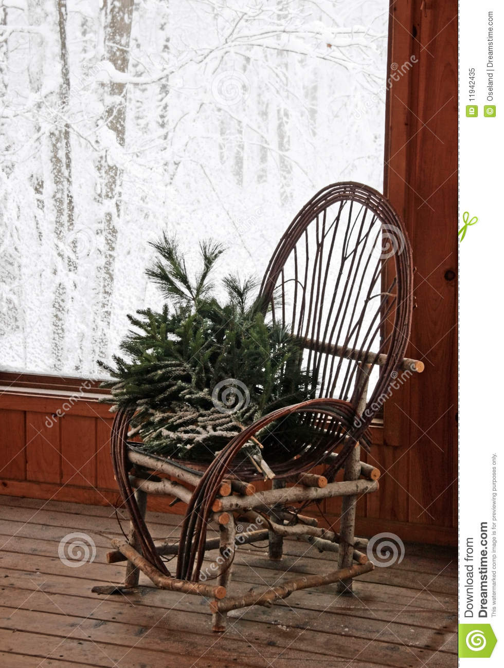 Rustic Bent Willow Chair Royalty Free Stock Photo Image