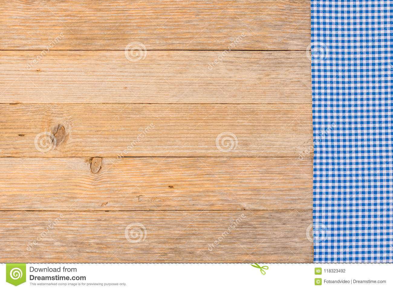 Download Bavarian Blue Checked Tablecloth On Wooden Table Background For  Oktoberfest Stock Photo   Image Of