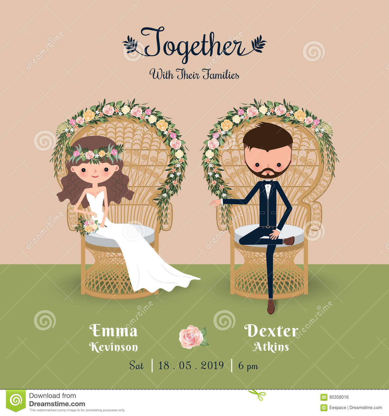 Rustic Wedding Couple Save The Date Invitation Card Floral