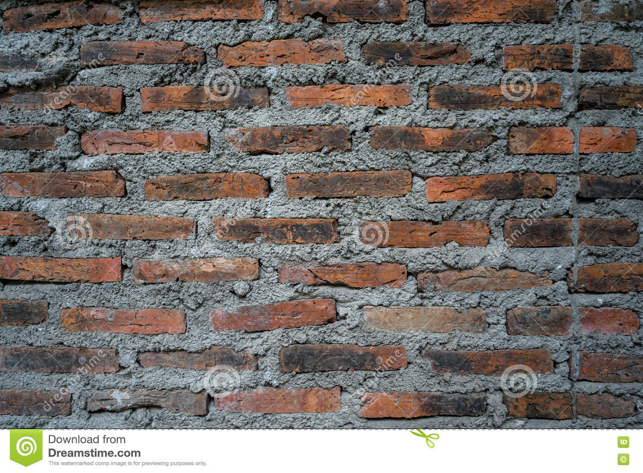 Download Rustic Bricks And Cement Texture Wall For Background Use Stock Photo