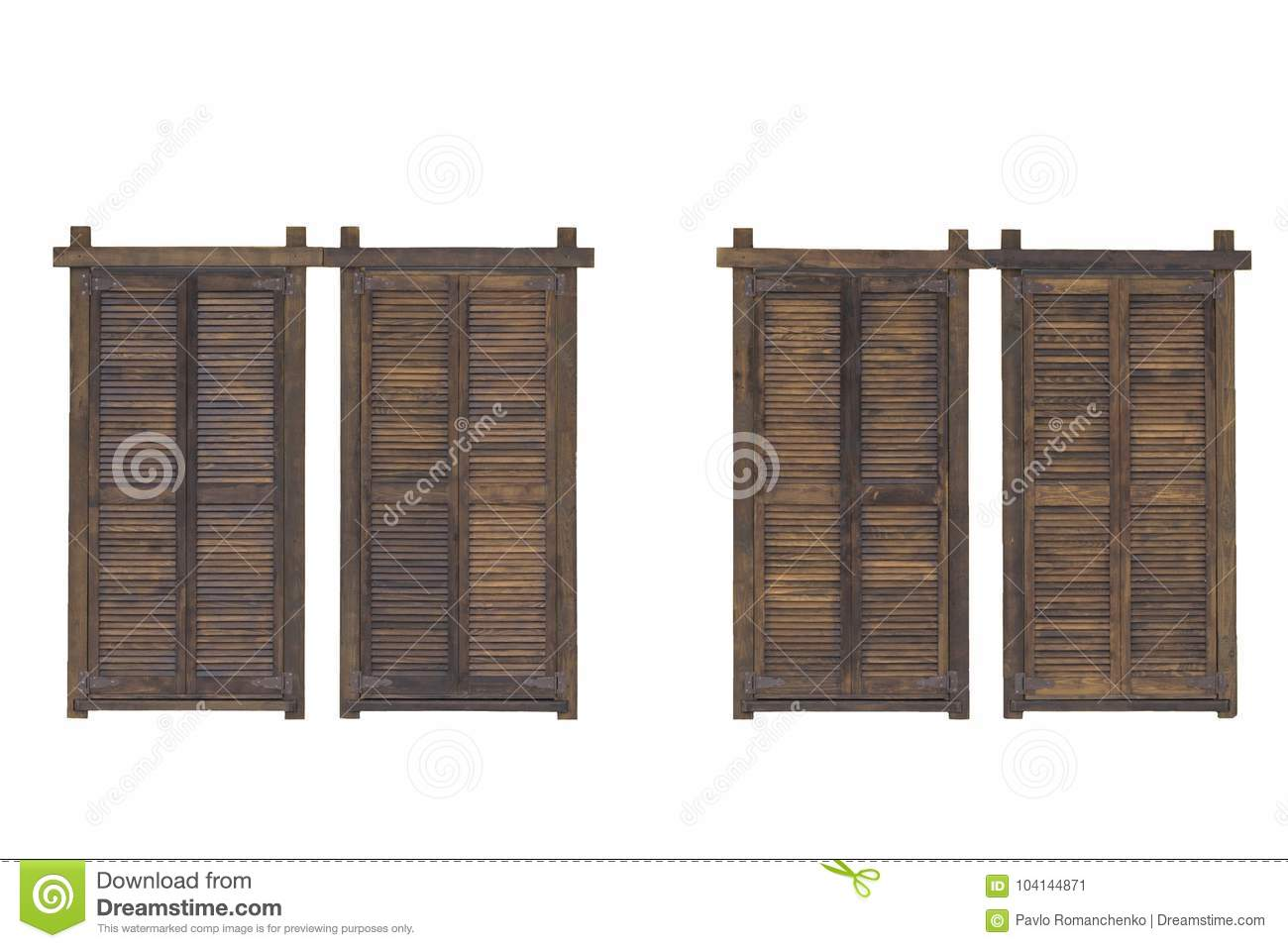 Rustic Brown Wooden Window Shutters Isolated On The White