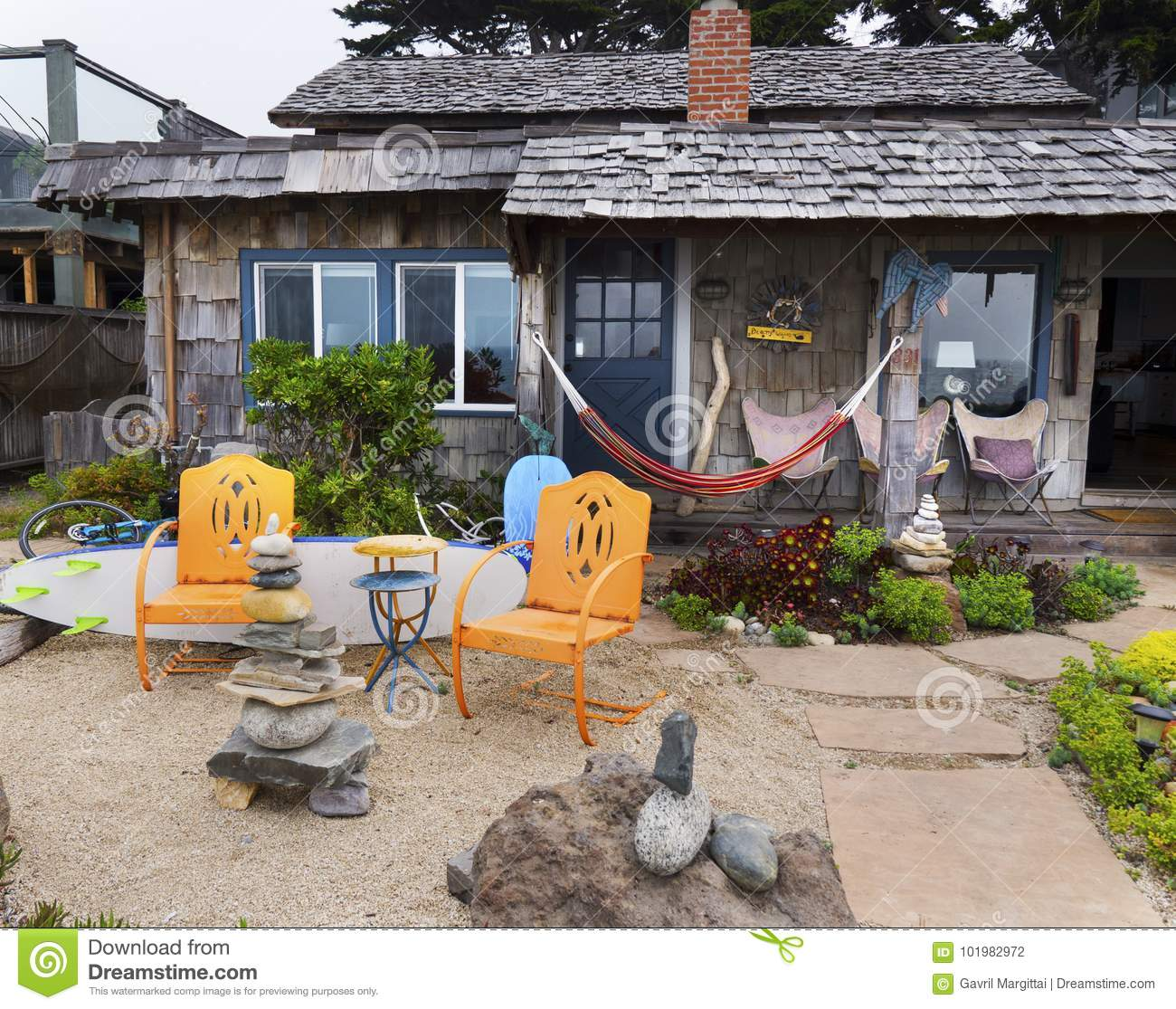 Rustic Bungalow At The Ocean Front Editorial Photography Image Of