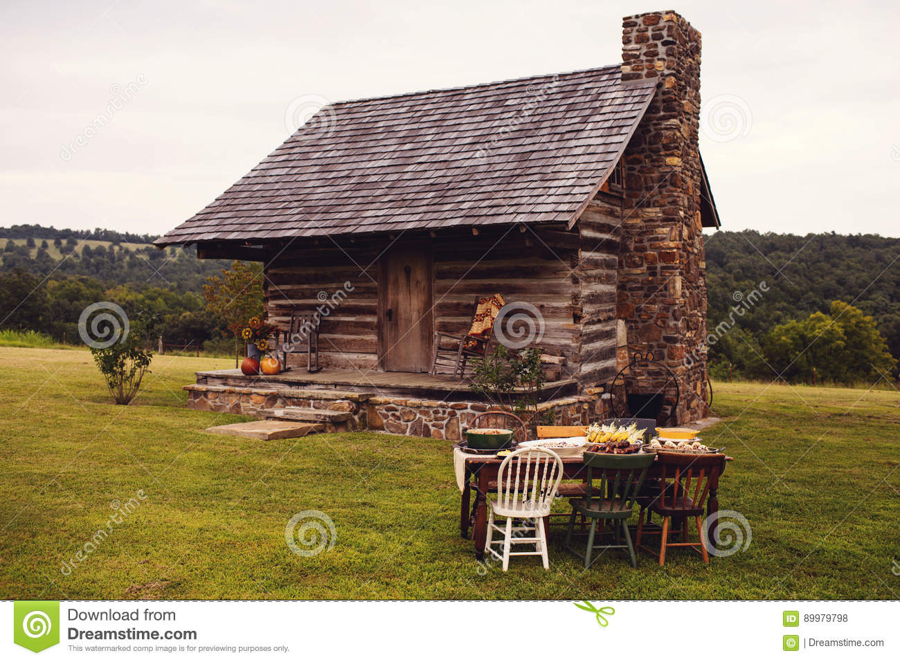 Groovy Rustic Cabin Fall Outdoor Dinner Party Stock Photo Image Download Free Architecture Designs Boapuretrmadebymaigaardcom