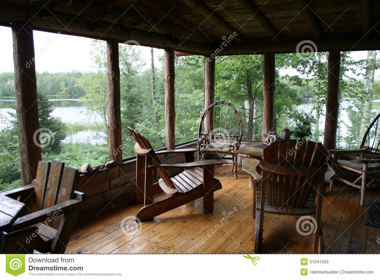 Rustic cabin porch with lake view stock image image of for Lakeview cabin download