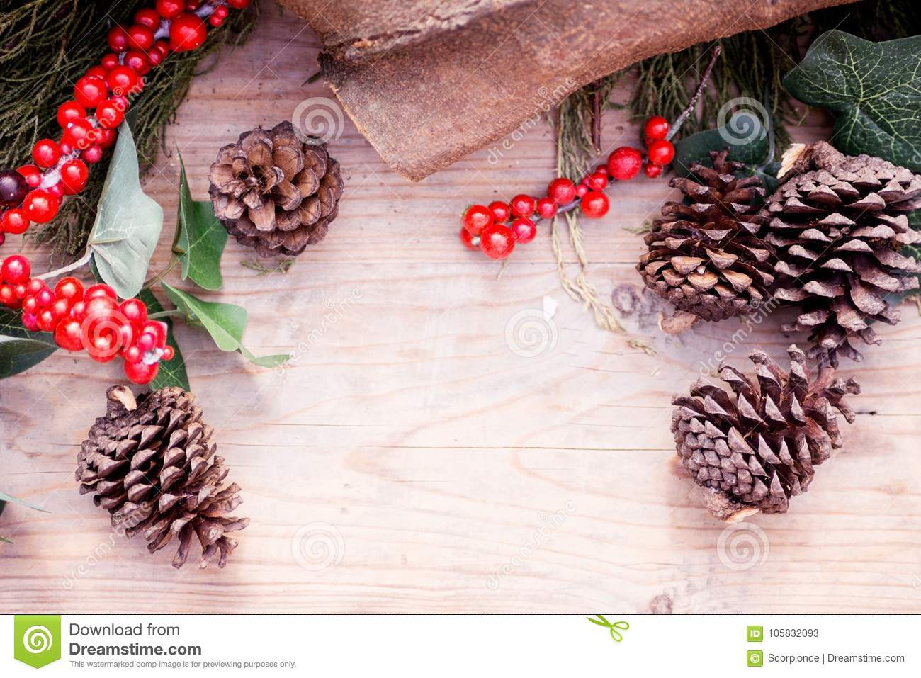 download rustic christmas background cypress branch fir cone and red berries on old - Rustic Christmas Background