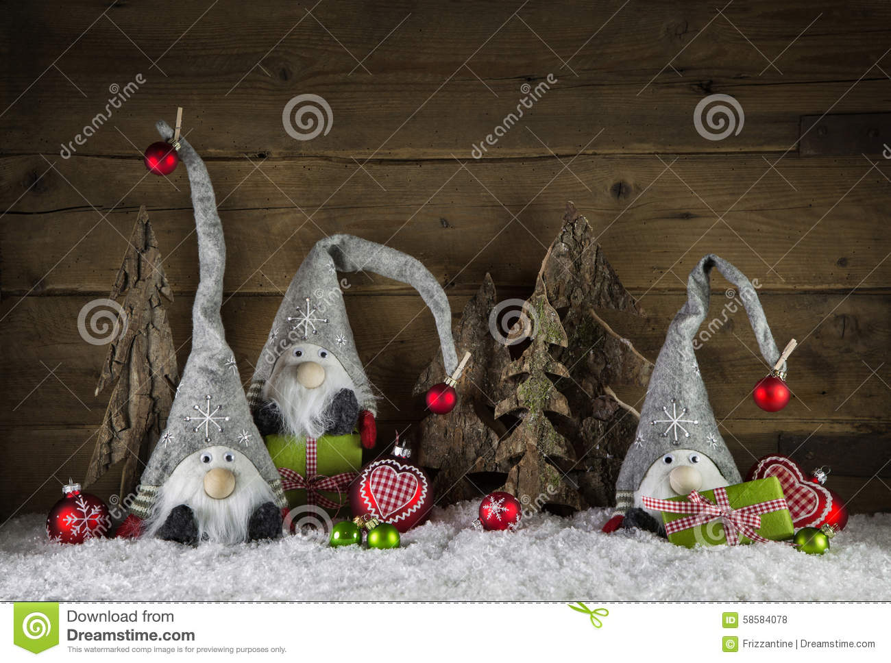 Rustic christmas decoration in country style with gnom ...