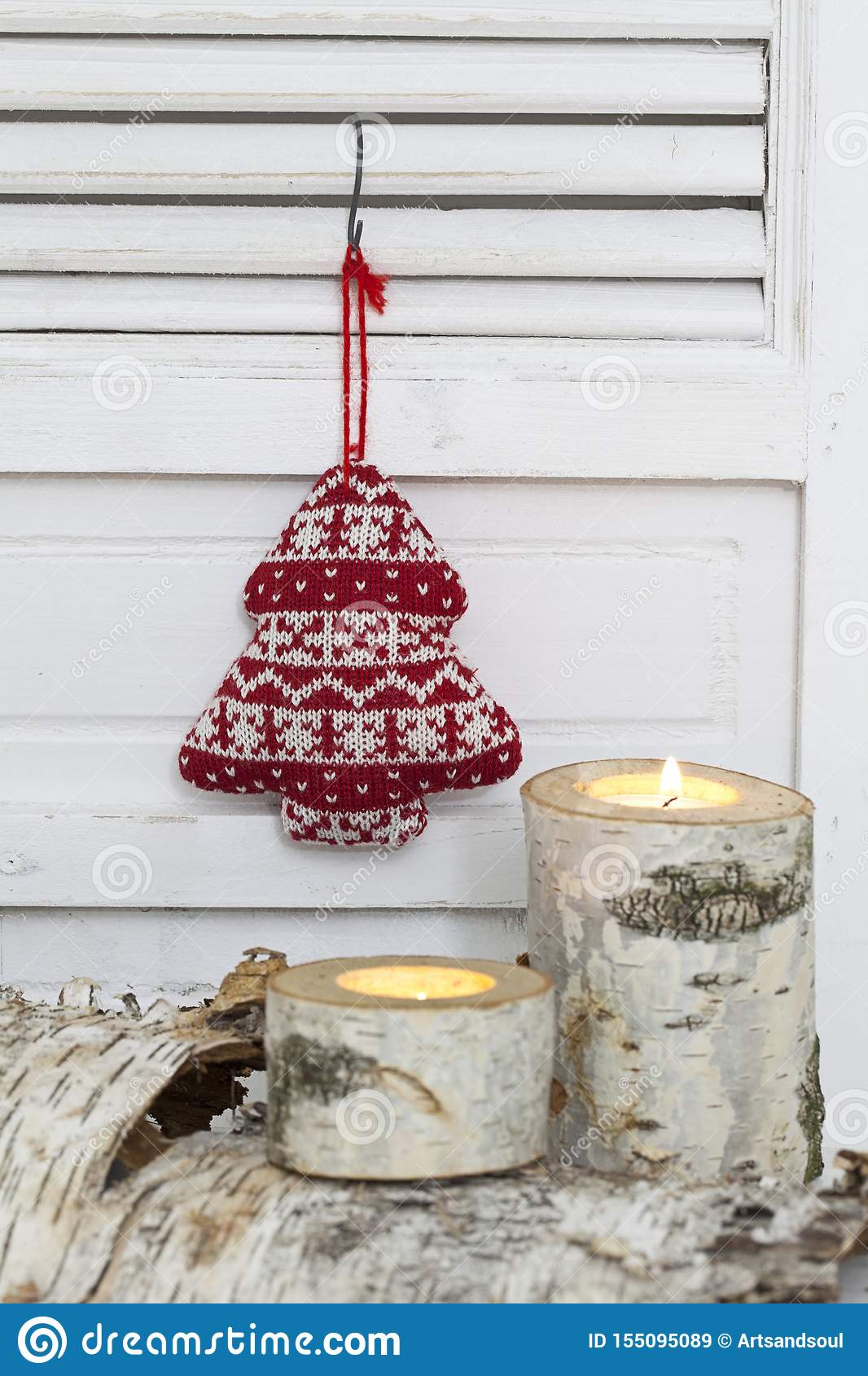 Rustic Christmas Decoration With Knitted Tree And Candles Stock Image Image Of White Ornament 155095089