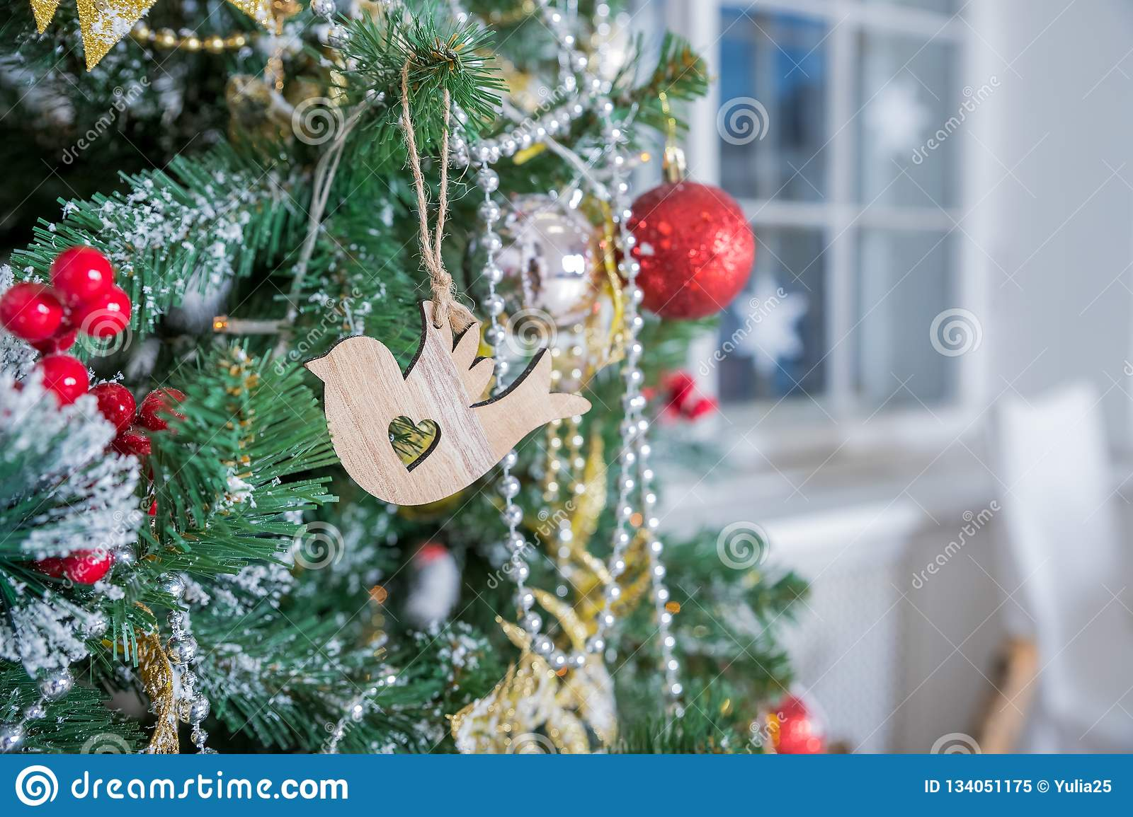 Rustic Christmas Decoration On Textured Wooden Background Wooden