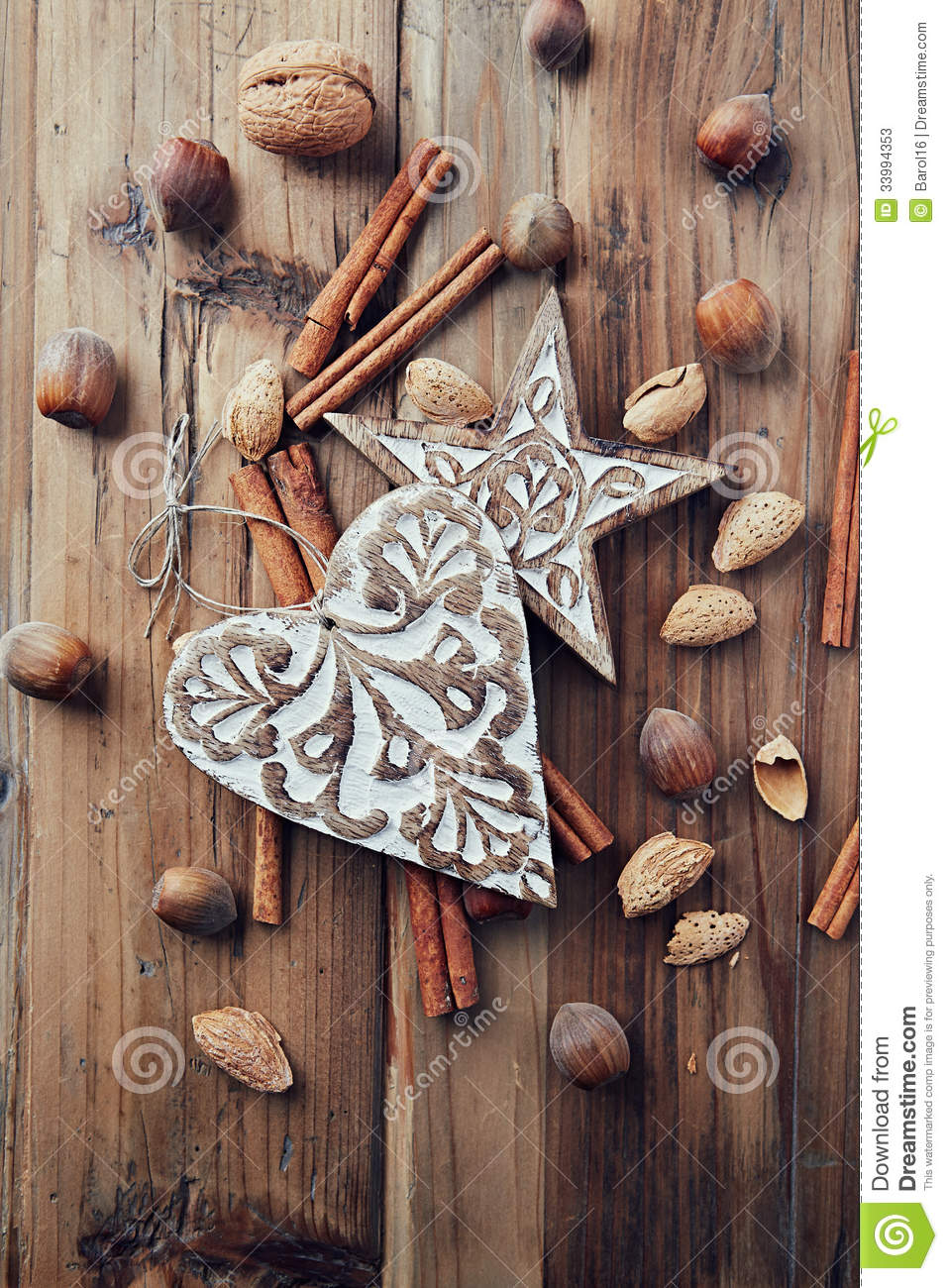 Rustic christmas decorations and ingredients for a stock for Northwoods decor