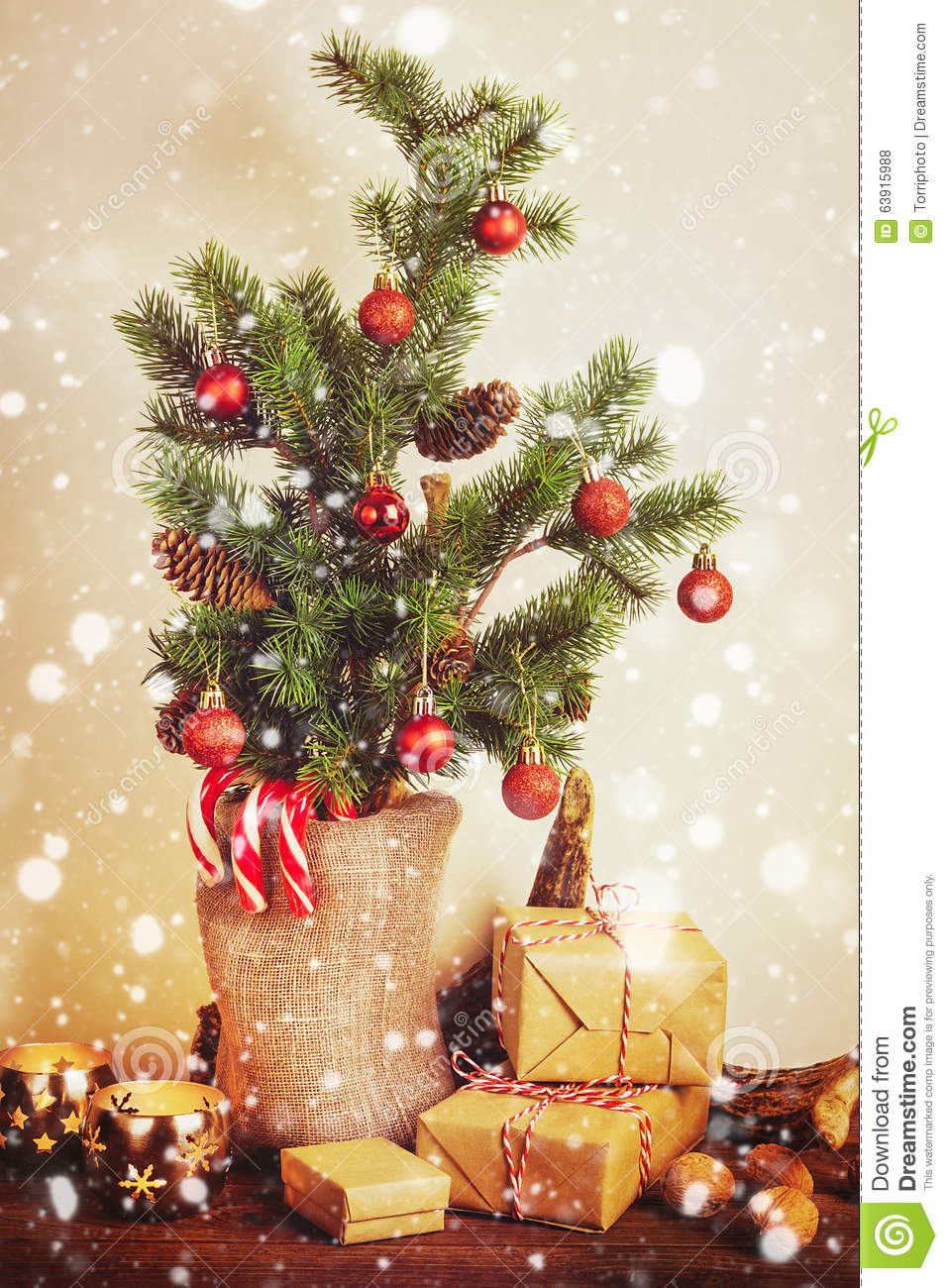 Rustic Christmas Decorations Stock Photo Image Of Merry Decorative 63915988