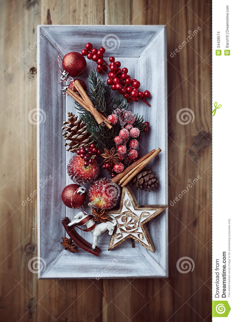 rustic christmas decorations on a wooden tray stock images
