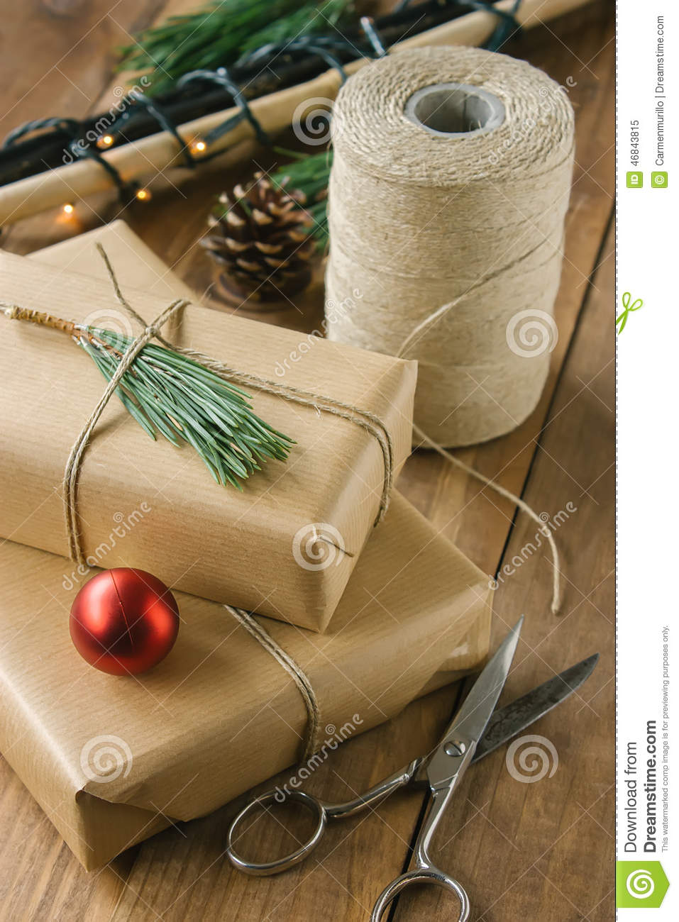 Rustic Christmas Gifts On Wooden Background Stock Image - Image of ...