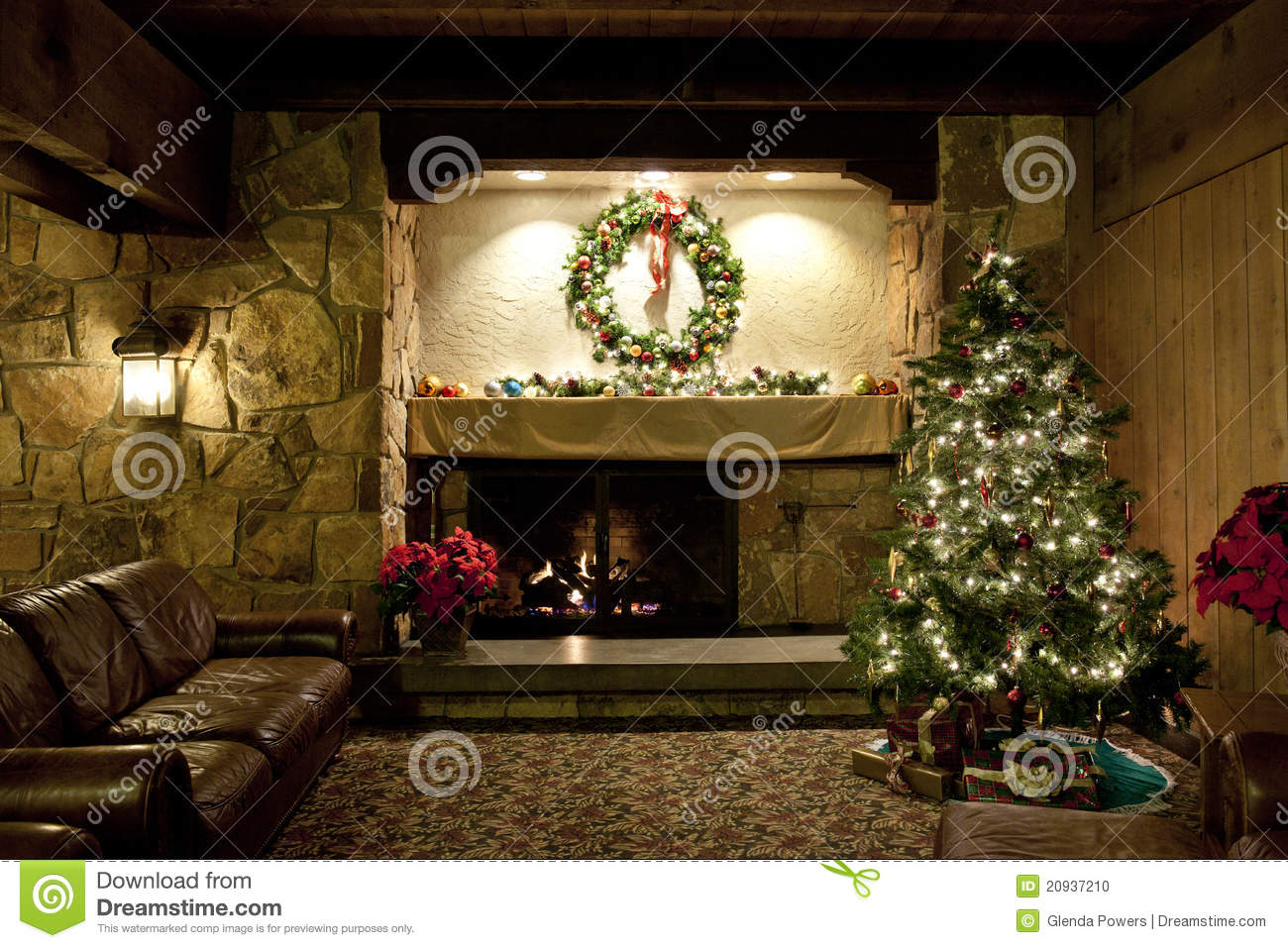 Rustic Christmas Living Room Stock Photo Image 20937210
