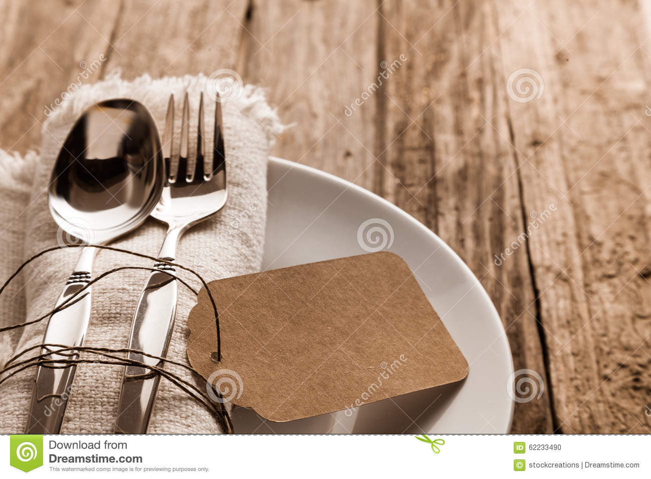 Rustic Christmas Place Setting Stock Photo Image 62233490