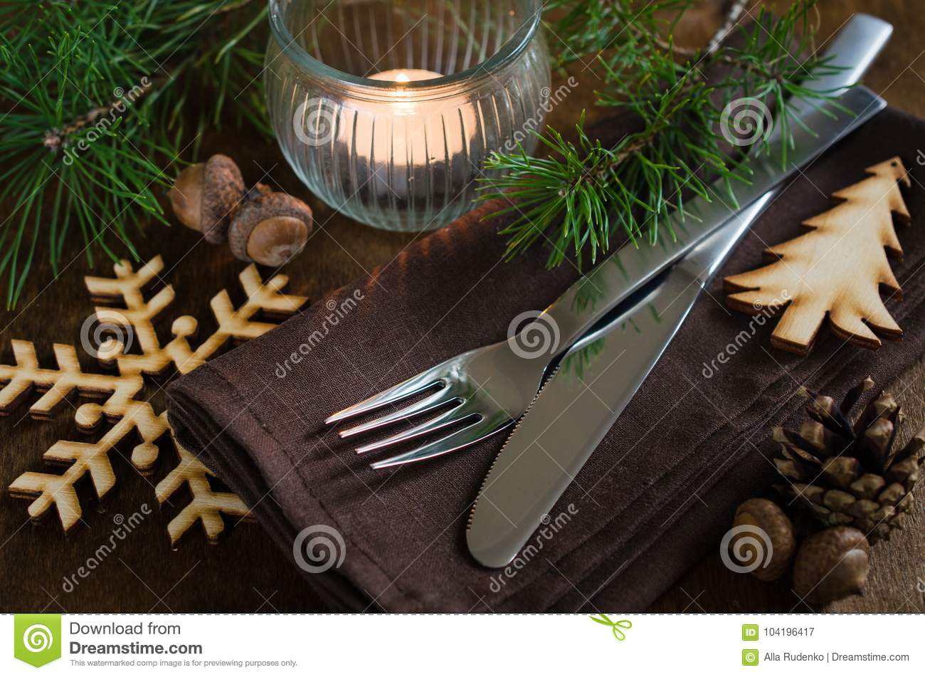 rustic christmas table setting with candle - Rustic Country Christmas Table Decorations