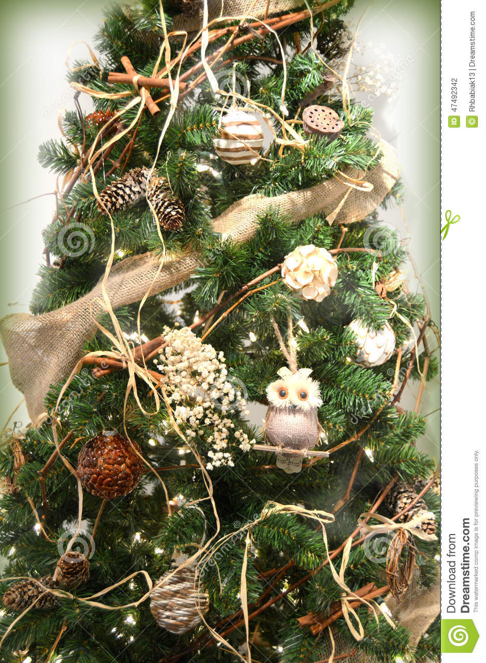 Christmas Tree Decorated With Owls